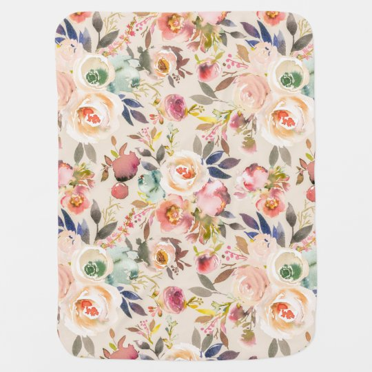 Vintage ivory pink brown watercolor rustic floral baby blanket