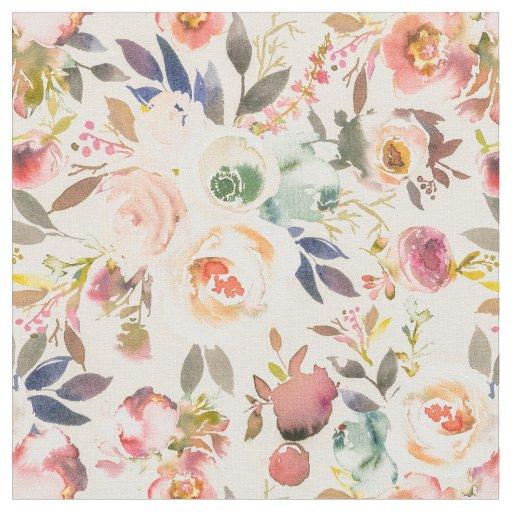 Vintage ivory pink brown watercolor rustic floral fabric