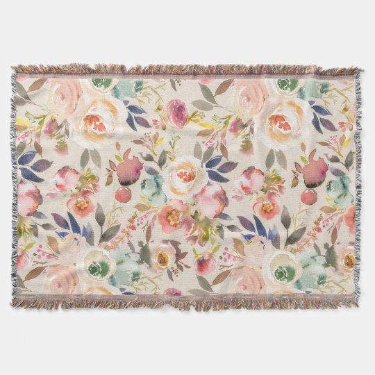 Vintage ivory pink brown watercolor rustic floral throw blanket