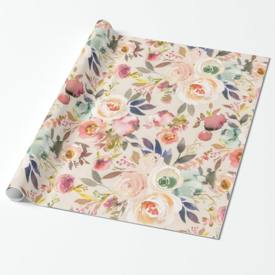 Vintage ivory pink brown watercolor rustic floral wrapping paper