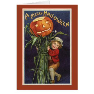 Vintage Jack-o-Lantern Cornstalk and Boy Halloween Card