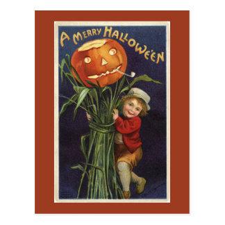 Vintage Jack-o-Lantern Cornstalk and Boy Halloween Postcard