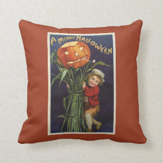 Vintage Jack-o-Lantern Cornstalk and Boy Halloween Throw Pillow