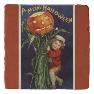 Vintage Jack-o-Lantern Cornstalk and Boy Halloween Trivet
