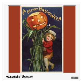 Vintage Jack-o-Lantern Cornstalk and Boy Halloween Wall Decal