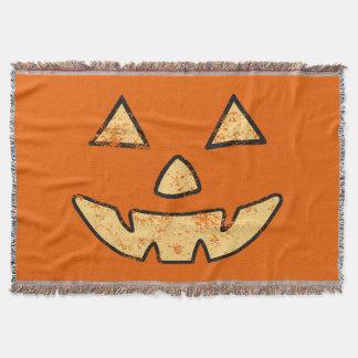 Vintage Jack-O-Lantern Face Halloween Blanket Throw Blanket