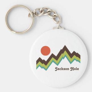 Vintage Jackson Hole Basic Round Button Keychain
