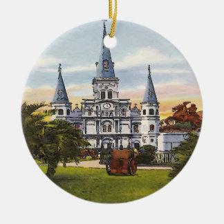 Vintage Jackson Square New Orleans Ceramic Ornament