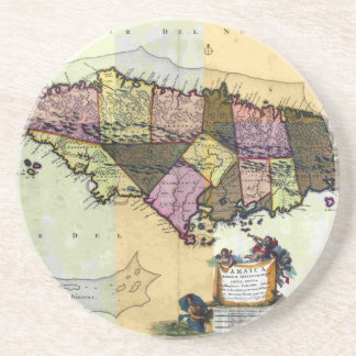 Vintage Jamaica 1680 Map Coaster