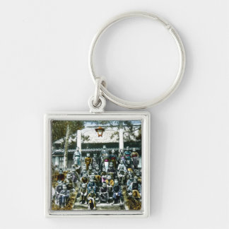 Vintage Japan Grade School Class Picture Kids Silver-Colored Square Keychain