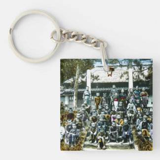 Vintage Japan Grade School Class Picture Kids Single-Sided Square Acrylic Keychain