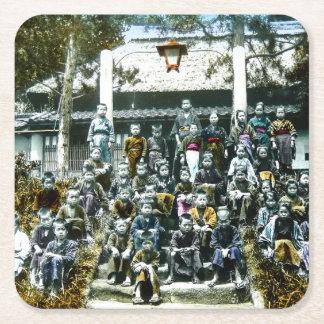 Vintage Japan Grade School Class Picture Kids Square Paper Coaster