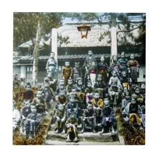 Vintage Japan Grade School Class Picture Kids Tile
