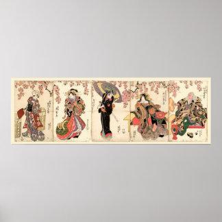 Vintage Japanese Actors 5 Panel Woodblock Poster