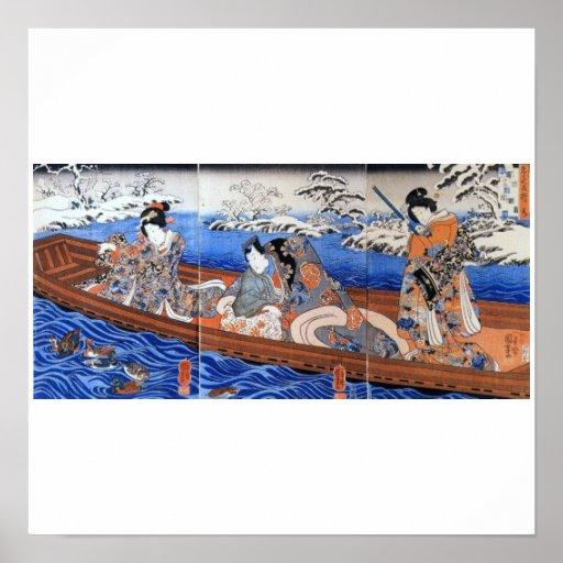 Vintage Japanese Art 1800's Print