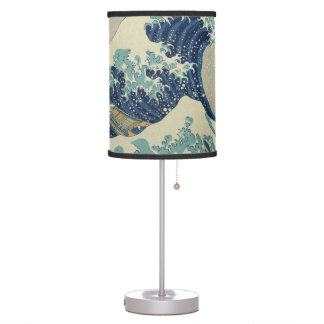 Vintage Japanese Art, The Great Wave by Hokusai Table Lamps