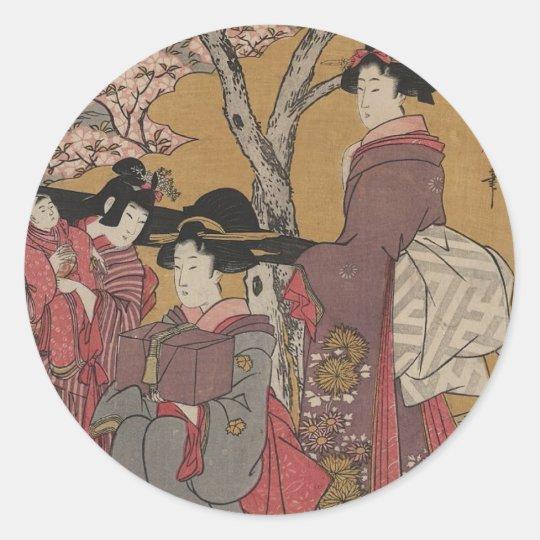 Vintage  Japanese Art tickers Classic Round Sticker