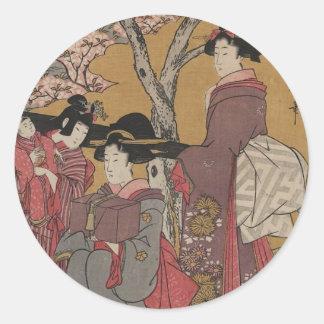 Vintage  Japanese Art tickers Round Sticker