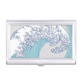 Vintage Japanese Artwork Print Wave Design Business Card Holder