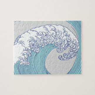 Vintage Japanese Artwork Print Wave Design Jigsaw Puzzle