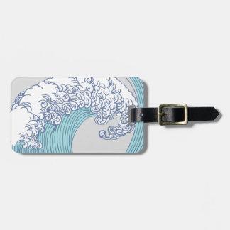 Vintage Japanese Artwork Print Wave Design Luggage Tag