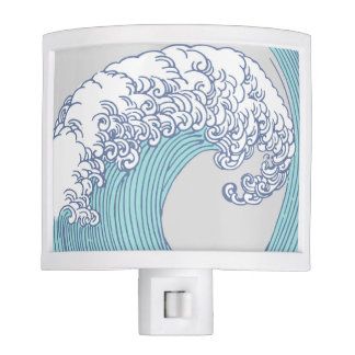 Vintage Japanese Artwork Print Wave Design Nite Lites