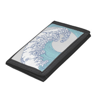 Vintage Japanese Artwork Print Wave Design Tri-fold Wallets