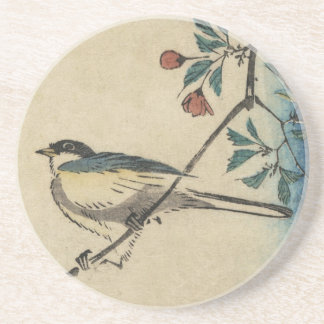 Vintage Japanese Bird and Blossom Art Coaster