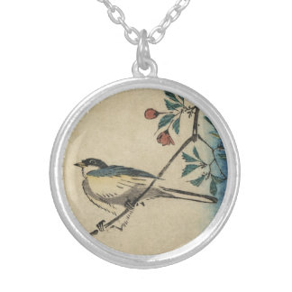 Vintage Japanese Bird and Blossom Art Silver Plated Necklace