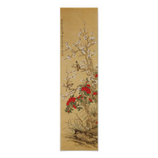 Vintage Japanese Birds and Flowers Poster