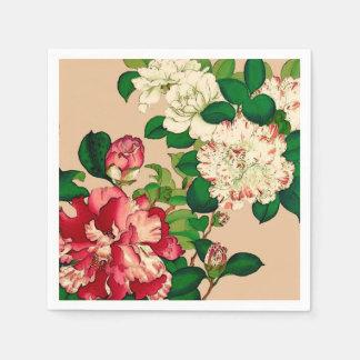Vintage Japanese Camellias. Deep Pink on Beige Disposable Napkin