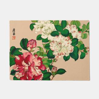 Vintage Japanese Camellias. Deep Pink on Beige Doormat