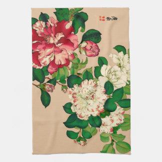 Vintage Japanese Camellias. Deep Pink on Beige Kitchen Towel