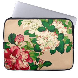 Vintage Japanese Camellias. Deep Pink on Beige Laptop Sleeve