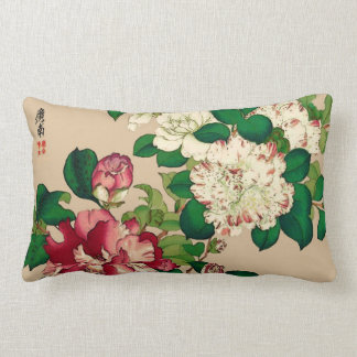 Vintage Japanese Camellias. Deep Pink on Beige Lumbar Pillow