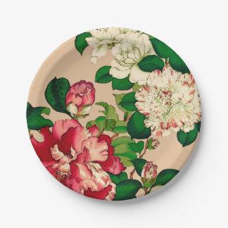 Vintage Japanese Camellias. Deep Pink on Beige Paper Plate