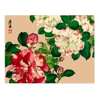 Vintage Japanese Camellias. Deep Pink on Beige Postcard