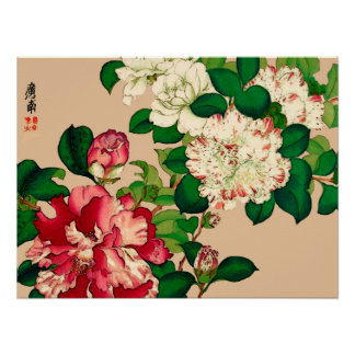 Vintage Japanese Camellias. Deep Pink on Beige Poster