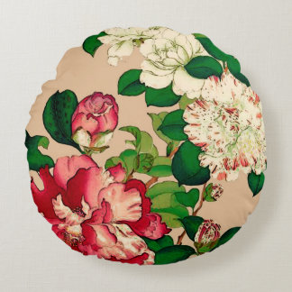 Vintage Japanese Camellias. Deep Pink on Beige Round Pillow