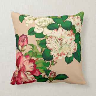 Vintage Japanese Camellias. Deep Pink on Beige Throw Pillow
