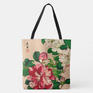 Vintage Japanese Camellias. Deep Pink on Beige Tote Bag