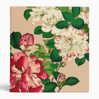 Vintage Japanese Camellias. Deep Pink on Beige Vinyl Binders
