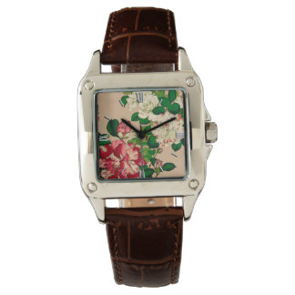 Vintage Japanese Camellias. Deep Pink on Beige Watches
