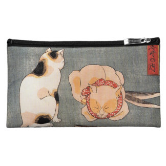Vintage Japanese Cat Art Makeup Bag
