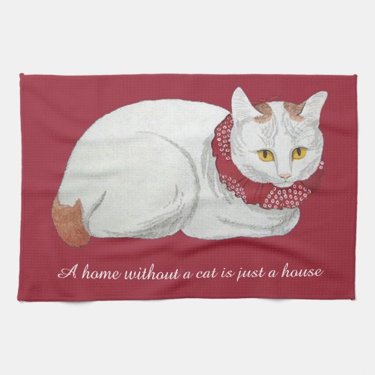 Vintage Japanese Cat Home Quote Kitchen Towel