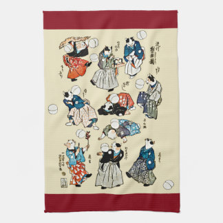 Vintage Japanese Cat Jugglers Ukiyo-e Art Kitchen Towels