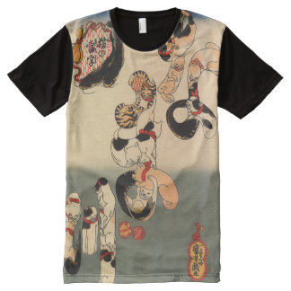 Vintage Japanese Catfish Cats Art All-Over-Print T-Shirt