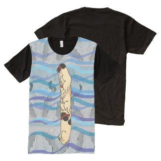 Vintage Japanese Catfish Totem Pole Wave Art All-Over-Print T-Shirt