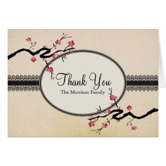 Vintage Japanese Cherry Blossom Thank You Card