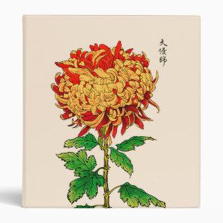 Vintage Japanese Chrysanthemum. Gold and Orange 3 Ring Binder